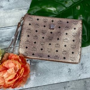 MCM rose gold champagne gold pouch clutch